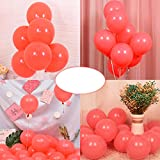 Party Pastel Balloons 200 pcs 5 inch Macaron Candy Colored Latex Balloons for Birthday Wedding Engagement Anniversary Christmas Festival Picnic or any Friends & Family Party Decorations- Pastel Red