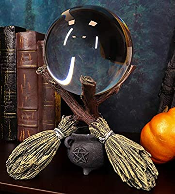 """Ebros Gift Wicca Psychic Fortune Teller Scrying Witch Crystal Glass Gazing Ball On Broomsticks and Potion Cauldron Figurine 8"""" H Witchcraft Wiccan Witches Decor Halloween Sculpture Decorative"""