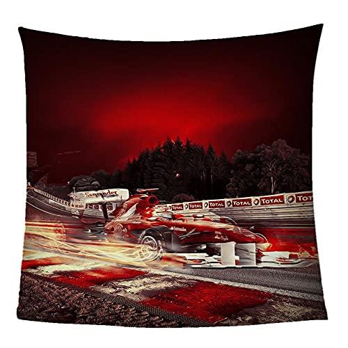 Impresión Mantas de Franela Coche F1 Rojo Manta de Duradera Suave y cómoda para el hogar Sofá Cama Sala de Estar 70 x 100 cm