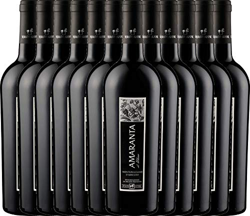 VINELLO 12er Weinpaket Rotwein - AMARANTA Montepulciano d'Abruzzo DOC 2017 - Tenuta Ulisse mit Weinausgießer   trockener Rotwein   italienischer Wein aus Abruzzen   12 x 0,75 Liter