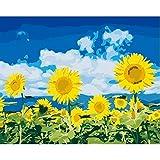 Marco Diy Pintura por números Kits Girasoles Inicio Arte de la pared Imagen Flores Pintura por números