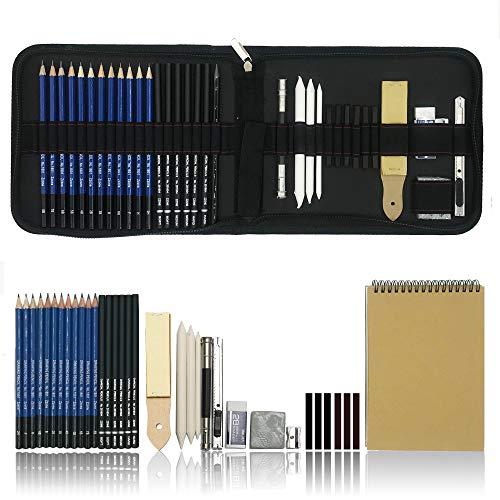36 Stück Bleistift Zeichnen Set, Skizzieren bleistift mit radiergummi, Zeichnen Graphite Set mit Zubehör für Künstler, Anfänger, Schüler