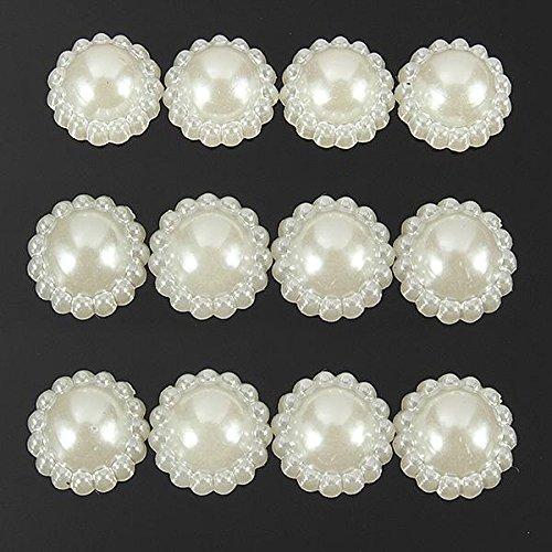 Desconocido Generic blanco marfil acrílico Pearl flores Scrap reserva adornos para tarjetas (madera)