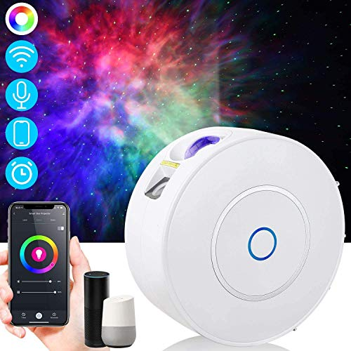 Star Projector, Galaxy Projector with LED Nebula Cloud, Star Sky Night Light Projector with Alexa & Google Home & Remote Control, Moon Lamp Sky Light Projector for Kids, Bedroom, Game Rooms, Party…