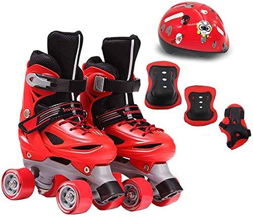 Patines de rodillos ajustables con cuatro pilas, principiantes de patines en línea, diversión, patines para niños clásicos y al aire libre para niños para niñas y niños. ( Color : Red , Size : 35EU )