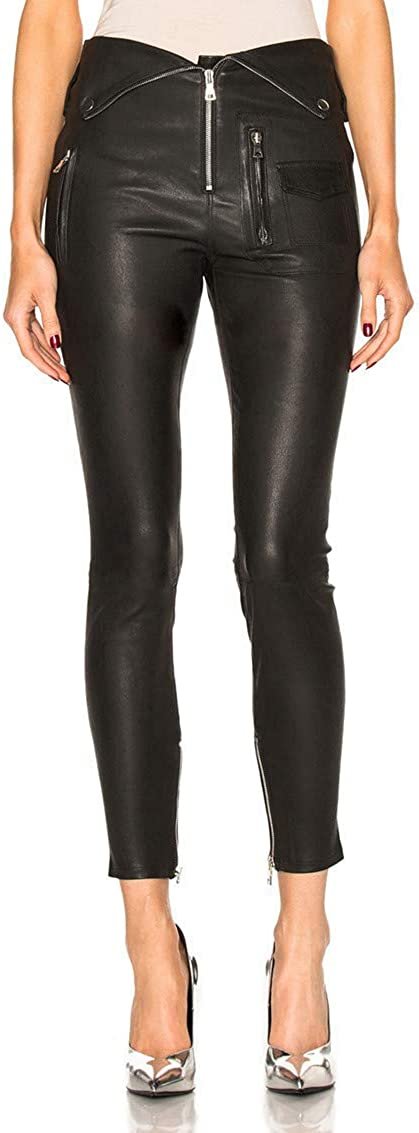 Tagoo Faux Leather Leggings for Women High Waisted Shiny Pleather Pants with Zipper Collar Design
