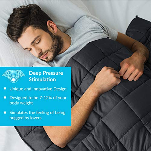 Bedsure Weighted Blankets Queen 20lbs - Grey Heavy Blanket for Adults | 100% Cotton Heavy Blanket with Glass Beads for Calming Comfort