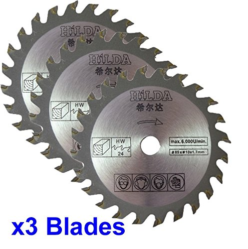 Drie cirkelzaagbladen 85mm Diameter x 10mm Boor x 24T Hout Snijden