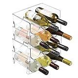 mDesign lot de 4 range-bouteilles transparent – casier à vin empilable et modulable pour stockage de bouteilles de vin – aménagement pratique de la cave et la cuisine – plastique, transparent