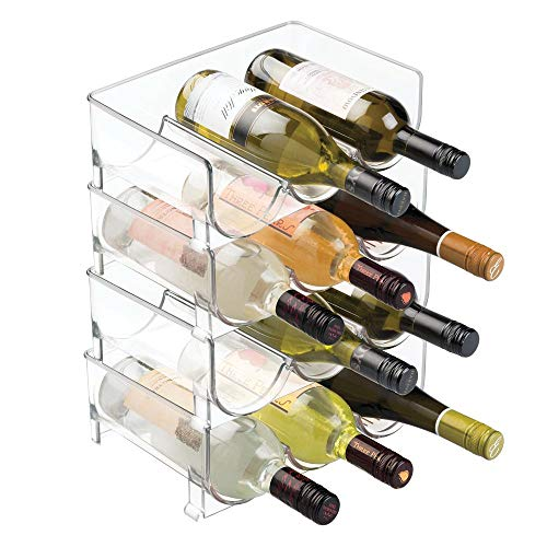 mDesign Stackable Wine Bottle Storage Rack for Kitchen Countertops, Cabinet - Holds 12 Bottles, Clear