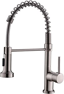 QIANGXIU,Commercial Spring Pull Down Kitchen Faucet,Single Handle Kitchen Sink Faucet with Two Function Sprayer,Brushed Nickel