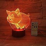Control Remoto o Control táctil Colorido Cerdo Noche luz Creativo pequeño acrílico lámpara de Mesa Buffet Regalo decoración del hogar Regalo