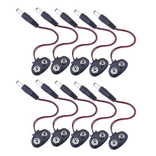 DollaTek 10Pcs 9V Clip de Cable de la batería Clip con 2.1 x 5.5 mm Macho DC Power Plug T Tipo para Arduino