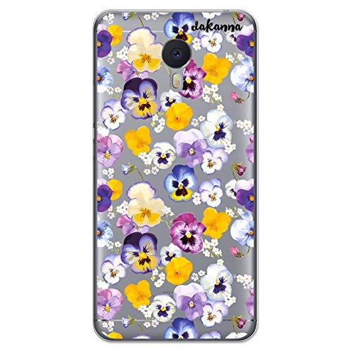 dakanna Schutzhülle Kompatibel mit [Meizu M3 Note] Flexible Silikon-Handy-Hülle [Transparenter Hintergr&] Veilchen Violas Blumenmuster Design, TPU Gel Hülle Cover für Dein Smartphone