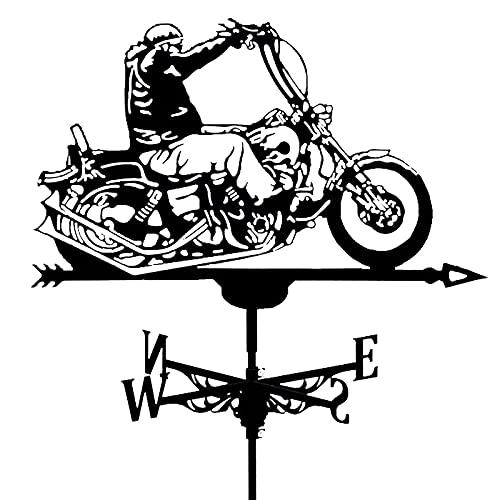 XJZKA Veleta de Metal para Motocicleta para Exterior, Techo, jardín, Montaje en Patio, decoración, Veleta, indicador de dirección del Viento