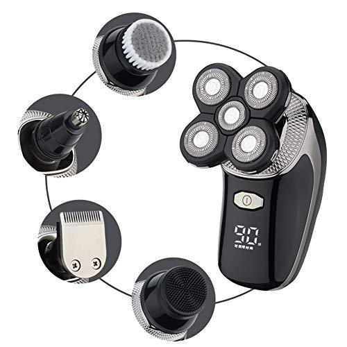 ZSYQBFF Bald Shaver, USB-Lade IPX6 Wasserdicht 5D Rotierenden Rasierer Trimmer Umbausatz Mit Fünf Schwimmkopf, Nasenhaarschneider Herren-Elektrorasierer