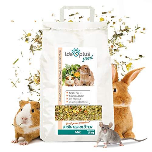 Ida Plus – Kräuter-Blüten-Mix 3,5 Kg – abwechslungsreicher Futtermix für Nager – ohne Getreidekörner – mit Vitamin C – optimal für Kaninchen, Meerschweinchen, Hamster, Chinchilla & mehr – mit Luzerne