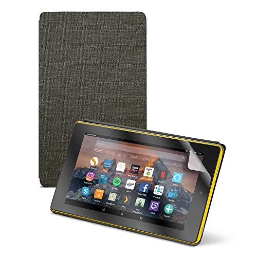 """Fire HD 8 Tablet (8"""" HD Display, 32 GB) - Yellow (Previous Generation - 8th) + Amazon Fire HD 8 Tablet Case, Charcoal Black + NuPro Clear Screen Protector (2-Pack)"""