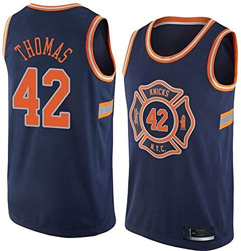 Jersey de Baloncesto de los Hombres NBA New York Knicks 42# Kurt Thomas Classic Tela Transpirable Clásico Retro Moda Sin Mangas Chaleco Camiseta Unisex (Size : Small)