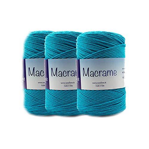 woolove Promozione 3 Pezzi di Fettuccia in Cotone da Lavorare ad Uncinetto Ideale per Creare cestini Borse