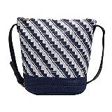 Monland Damen Gestreifte Beutel Tasche Schulter Messenger Stroh Tasche Mori Papier Seil Gewebte Freizeit Tasche Strand Tasche Blau