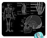 Kunst-Schädel-Wissenschafts-Medizin-Anatomie-Graustufen-Knochen-Mausunterlage Computer Mousepad