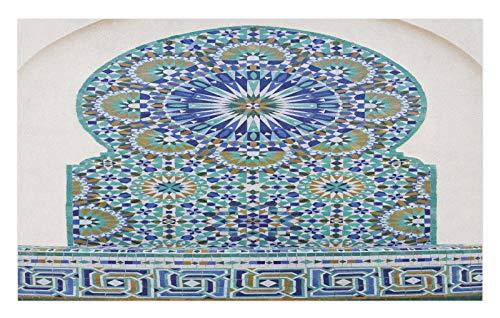 ABAKUHAUS marroquí Tapete, Baldosa cerámica del Este, Decorativo con Fieltro de Poliéster Estampado Base Antideslizante, 45 cm x 76 cm, Café pálido de la Turquesa