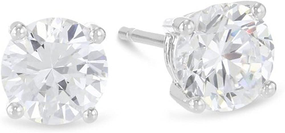 1/3 Carat Solitaire Diamond Stud Earrings 14K White Gold Round Brilliant Shape 4 Prong Push Back (G-H Color, I1 Clarity)