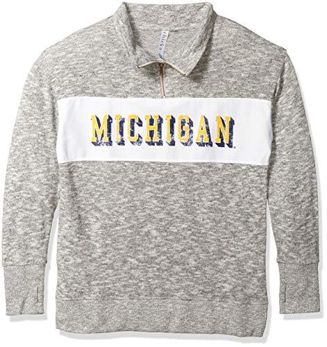 chicka-d NCAA Michigan Wolverines UM479 Damen Fleece-Jacke mit Reißverschluss, Damen, Cozy Fleece Quarter Zip, grau meliert, X-Large