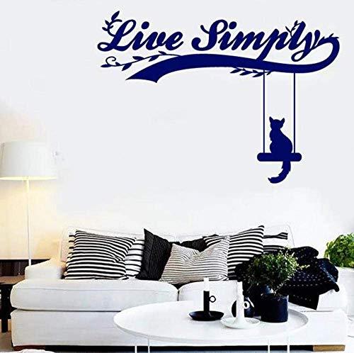 Live Simply Vinyl muurtattoo raamsticker woord en citaat als kat op een schommel kunst muurschildering slaapkamer woonkamer huis decoratie 42x58cm