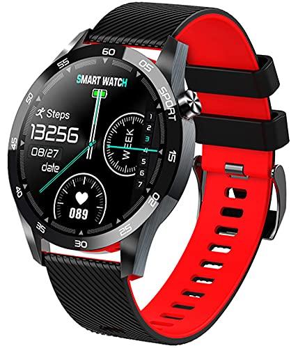 XWZ Smart Fitness Tracker Montre Tensiomètre Sang oxymètre Moniteur de fréquence Cardiaque en Temps réel Mesure de la température, Compatible avec Android iOS,Rouge