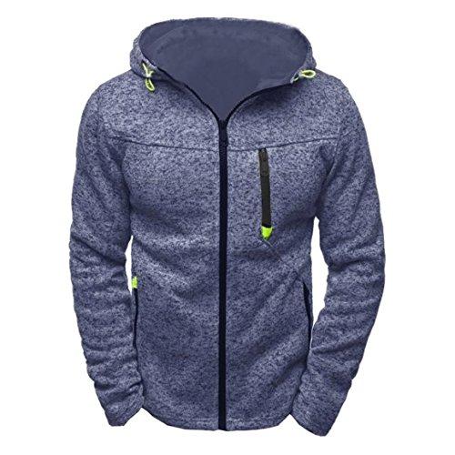 Männer Reißverschluss Hoody,Moonuy Männer Baumwolle Hoody Reißverschluss Slim Hoodies Langarm-Sweatshirts Solid Farben Pullover Charm Coat, dünne Jacke für Männer (Blau, EU 40 / Asien XL)