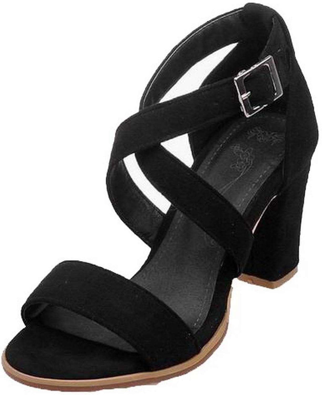 AllhqFashion Women's High-Heels Buckle Open-Toe Sandals,FBULD015694
