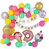 Banner de feliz cumpleaños con kit de arco de globos de agua de látex, helado de globo de aluminio, dulces, decoraciones de fiesta de cumpleaños de donut para niñas y niños