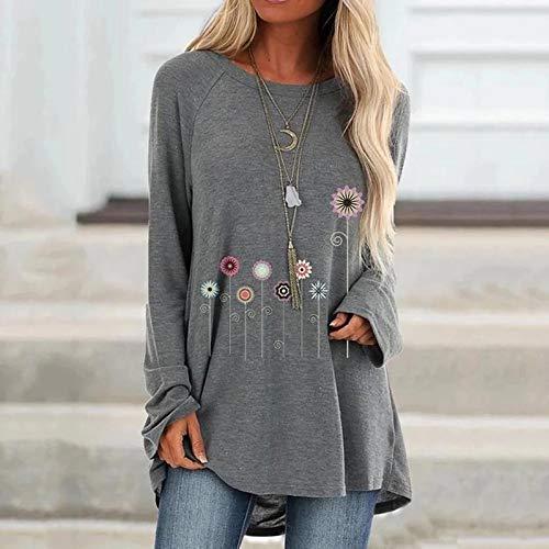 AITU Stickers Muraux Camiseta De Manga Larga,Fashion Plus Size Loose Casual Women Floral Print Irregular Hem Tshirt Vintage Long Sleeve T-Shirt Tops O-Neck tee Shirt Tunic Clothes Gray, XXL