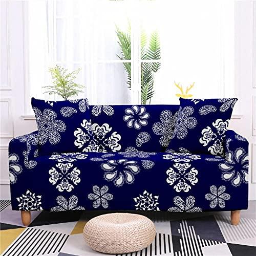 Patrón de Flor Azul Funda de sofá de 3 Plazas Funda Elástica para Sofá Poliéster Suave Sofá Funda sofá Antideslizante Protector Cubierta de Muebles Elástica