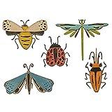 Sizzix 665364-Set de Troqueles Thinlits (5 Unidades), diseño de Insectos Funky, Multicolor, Talla única