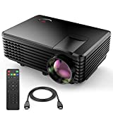 TENKER Ugraded 3000L Video Projector, 70% Brighter, Mini Home Theater Movie Projector 4.0' LCD Up to 176-inch Display, Supports 1080P HDMI/USB/SD Card/AV/VGA TVs/Laptops/Games (Black)