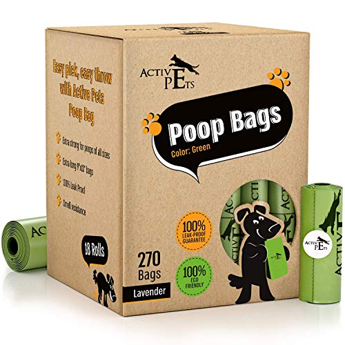Active Pets Dog Poop Bag, Extra Thick Dog Waste Bags, Leak-Proof Dog Bags For Poop, Biodegradable Dog Poop Bags, Strong Dog Bags For Poop, Lavender-Scented Eco-Friendly Doggie Bags For Poop (270 bags)