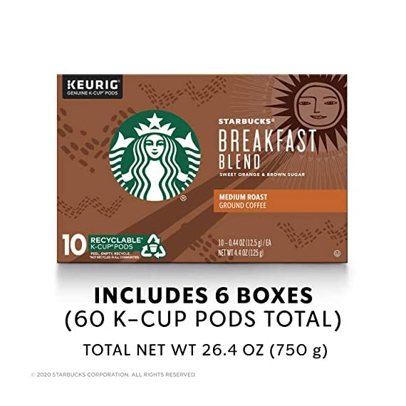 Starbucks Medium Roast K-Cup Coffee Pods — Caramel for Keurig Brewers — 6 boxes (60 pods total) 3 FLAVOR AND ROAST: A lighter, gentler take on the Starbucks roast, Starbucks Veranda Blend is flavorful without being overly bold PACKAGING CHANGE: We are currently updating our packaging look. You may receive either package for a limited time FOR KEURIG BREWERS: Starbucks K-Cup pods are designed for use with the Keurig Single Cup Brewing System