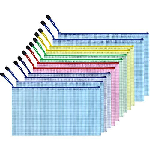 Yisscen - Juego de fundas para documentos de plástico con cremallera, impermeables,...