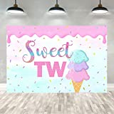 Ticuenicoa 5×3ft Two Sweet Ice Cream Backdrop Summer Pink Ice Cream Girls Princess 2nd Birthday Party Banner Decorations Sweet Two Cake Table Decor Photography Background