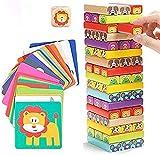 CYLYFFSFC Holz-Vier-in-Eins-Spiel mit Tieren und Farben, Familienbrettspielen und Lernspielzeug, das die kognitiven Fähigkeiten von Kindern verbessern kann