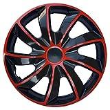 WoMa Kreativ Tapacubos Quad Bicolor Rojo y Negro de 14 Pulgadas x 4 tapacubos de 14 Pulgadas, de Calidad
