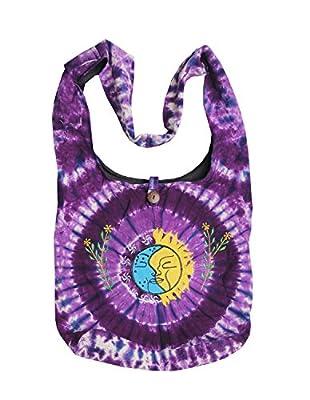 KayJayStyles Sun Moon Hippie Boho Slouch Bag Sling Nepal Cross Body Bag (Purple)