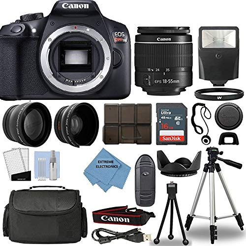 Canon Rebel T6 DSLR Camera + 18-55mm 3 Lens Kit + 16GB Top Value Bundle - 2X Telephoto Lens + Wide Angle Lens + 3 Piece Filter Kit + Tripod + Lens Hood + Flash + Extreme Electronics Cloth + More