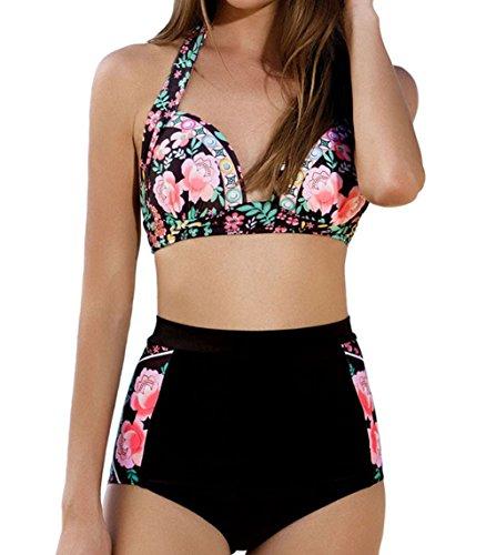 DELEY Mujeres Cintura Alta Vintage Floral Impresión Push Up Bikini Traje De Baño Beachwear