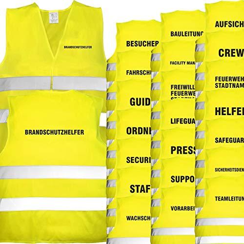 Nashville print factory Warnweste gelb mit Text Bedruckt Rückendruck + Brustdruck Sicherheitsweste EN ISO 20471 (Presse)