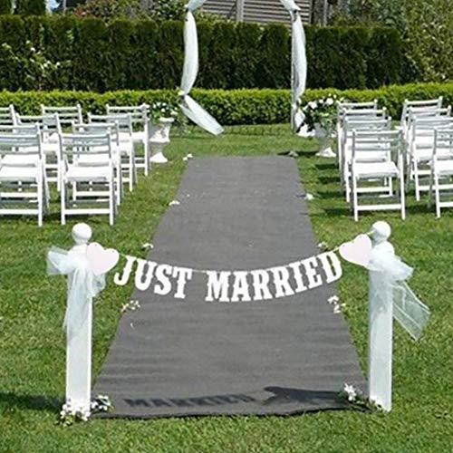 tyrrdtrd Just Married, Papierfahnen, Girlande, Wimpelkette, Dekoration, Weiß