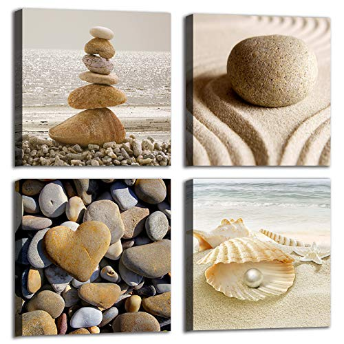 Beige Zen Seascape Wall Decor for Bathroom, 4 Panel Sea Ocean Beach Theme Wall Art Canvas Prints for Living Room, Stone Shell Coastal Seaside Nature Landscape Wall Pictures Print, Size 12'' x 12'' x 4